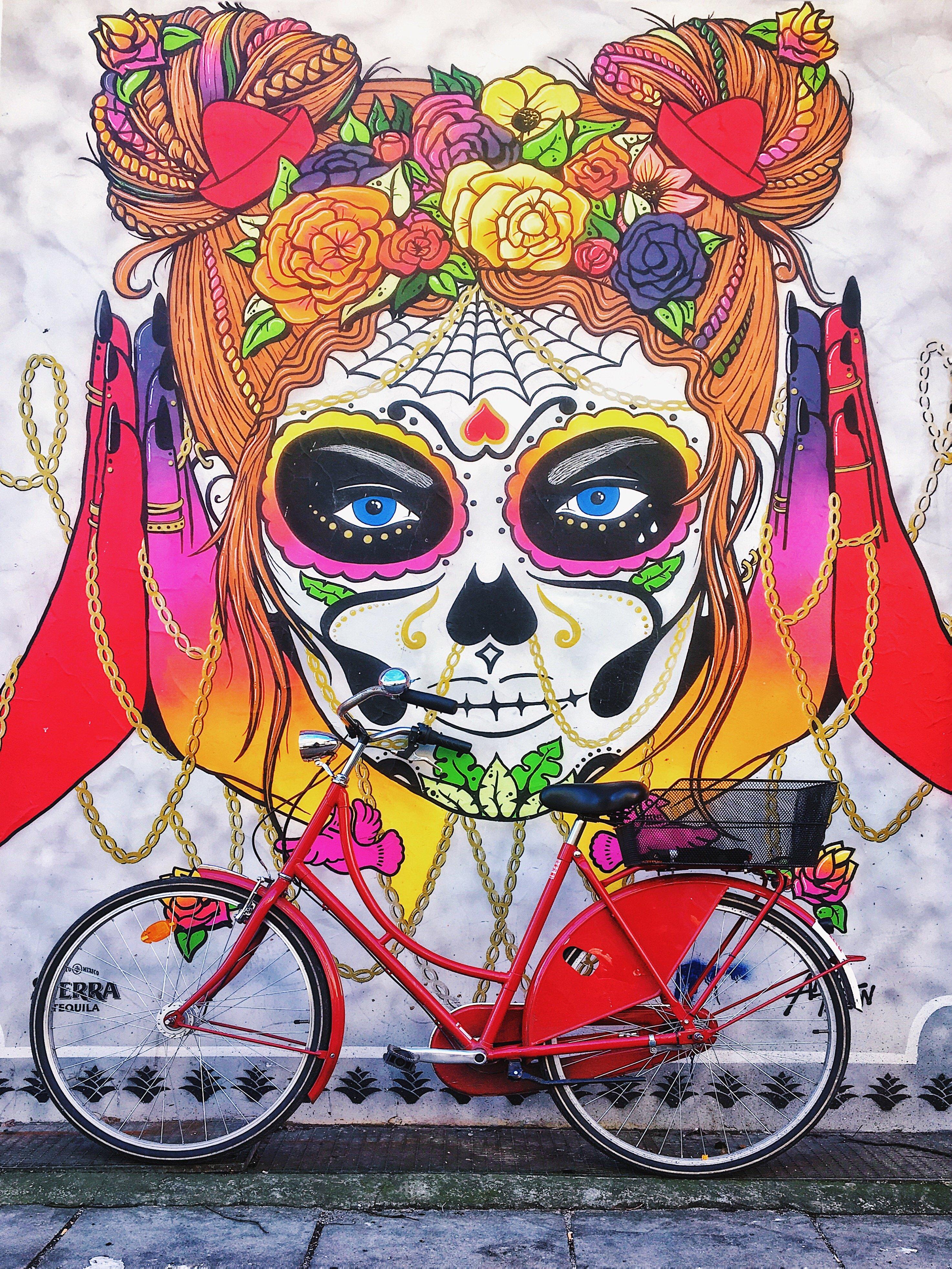 Streetart Hamburg: Graffiti Anna T.Iron Santa Muerte Paul Roosen Str, Frau Elbville Hamburg Companion