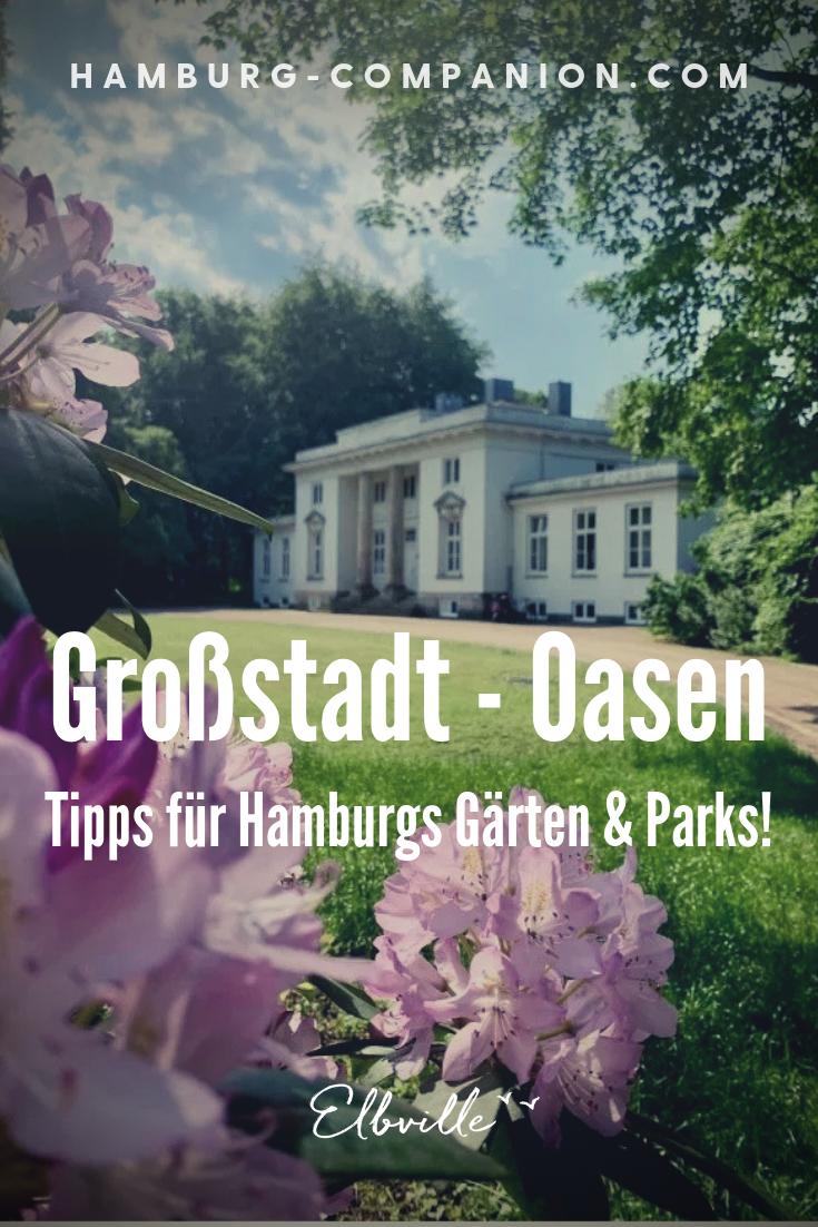 Wo sich in Hamburg geheime Ruheoasen und blühende Paradiese verstecken:  Vogelgezwitscher, uralte Rhododenren, Lindenalleen, verwitterte Gräber, weiße Villen und Palmen (aus Plastik): In Hamburg gibt es neben berühmten Parks wie Planten un Blomen, dem Stadtpark oder dem Volkspark noch zahlreiche andere Paradiese und Gärten zu entdecken!