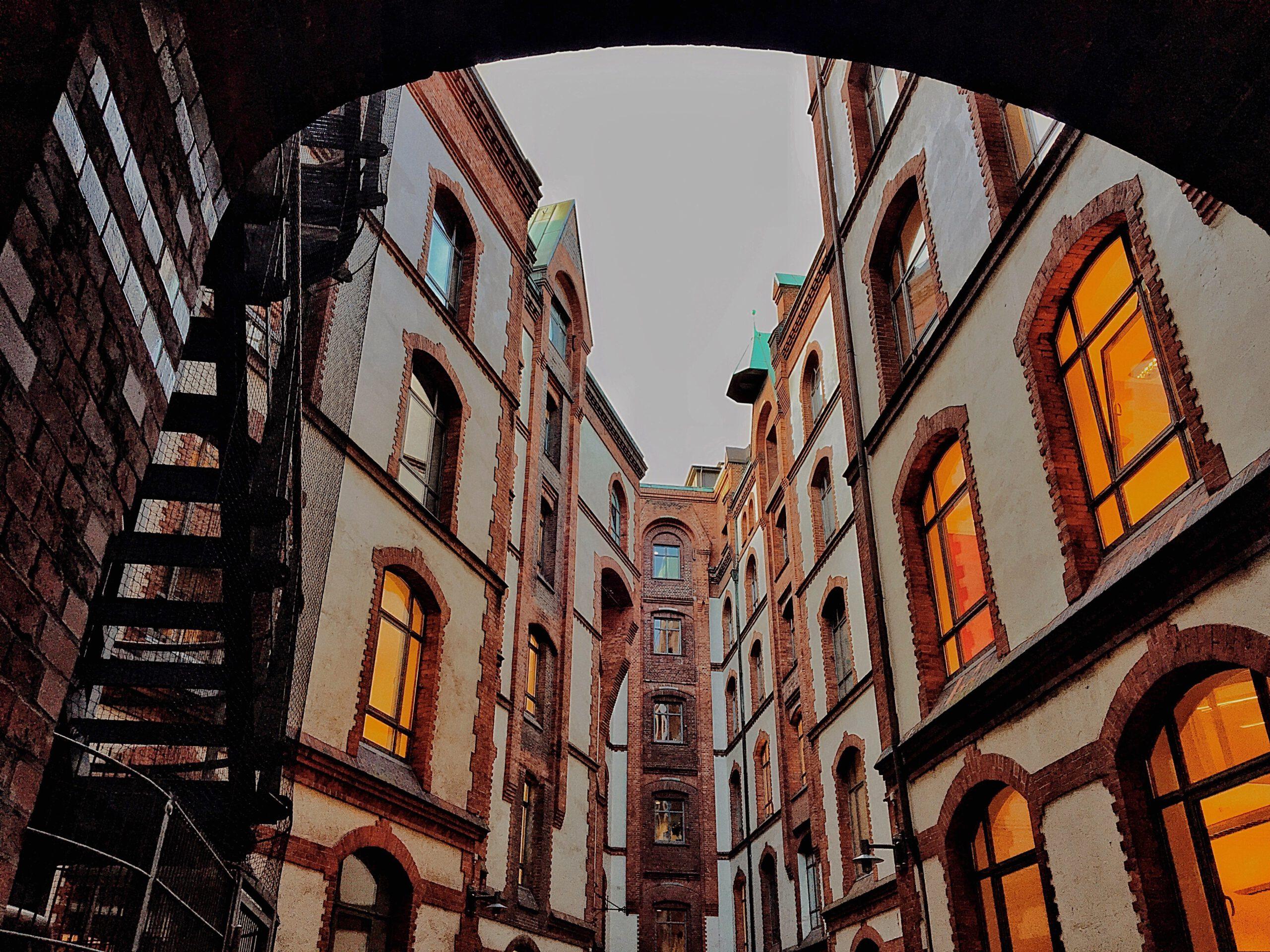 Blick in den Pickhuben Hinterhof in der Speicherstadt, Hamburg