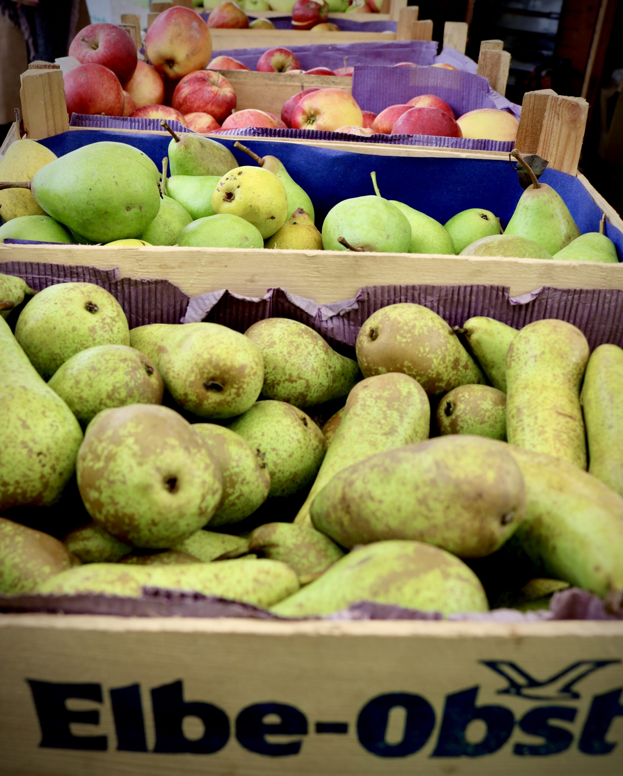 Tipps für das Alte Land: Obstlieferant für Hamburg. Obstkörbe mit Birnen und Äpfeln
